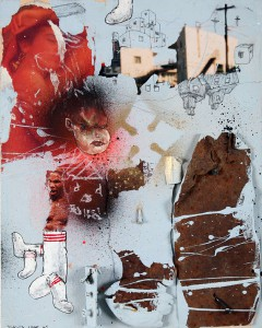 David  Choe -  <strong>Blue Socks</strong> (<strong style = 'color:#635a27'></strong>)<bR /> Mixed media on wood,   9 3/4 x 7 3/4 inches