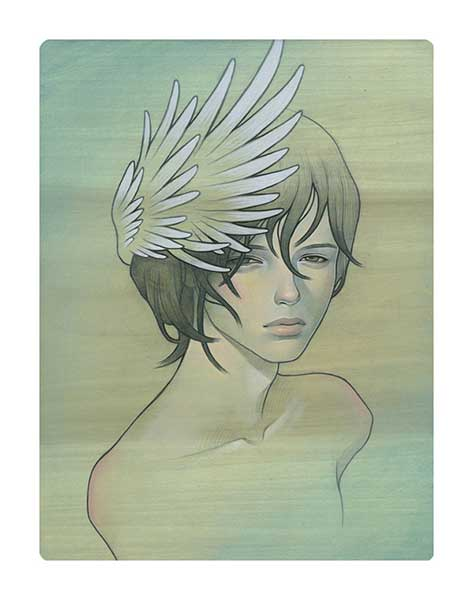 Audrey  Kawasaki -  <strong>Blue</strong> (2009<strong style = 'color:#635a27'></strong>)<bR /> oil and graphite on wood,   11 x 8.5 inches  (27.94 x 21.59 cm)