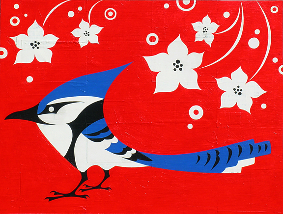 Plankton  &nbsp -  <strong>Blue Jay (Tree Jerk)</strong> (2005<strong style = 'color:#635a27'></strong>)<bR /> Mixed Media on Board ,   18 x 24 inches