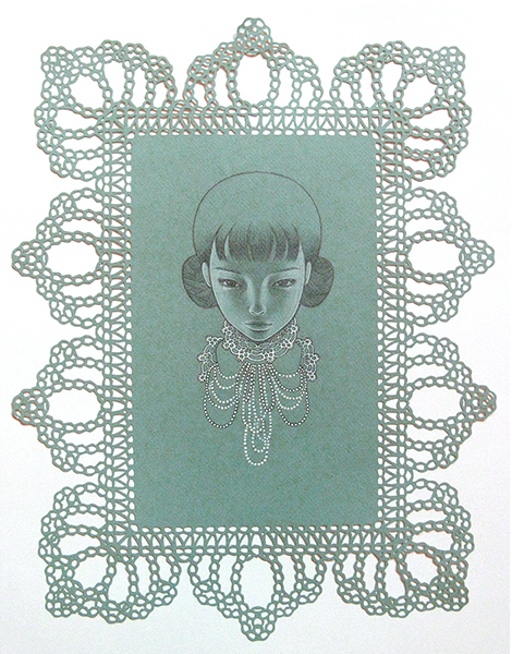Audrey  Kawasaki -  <strong>Blue Lacey</strong> (2009<strong style = 'color:#635a27'></strong>)<bR /> graphite on laser-cut paper,   18 x 13.5 inches  (45.72 x 34.29 cm)