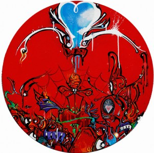 Boleta    -  <strong>Red</strong> (<strong style = 'color:#635a27'></strong>)<bR /> Mixed Media on Canvas,   23 inches in diameter