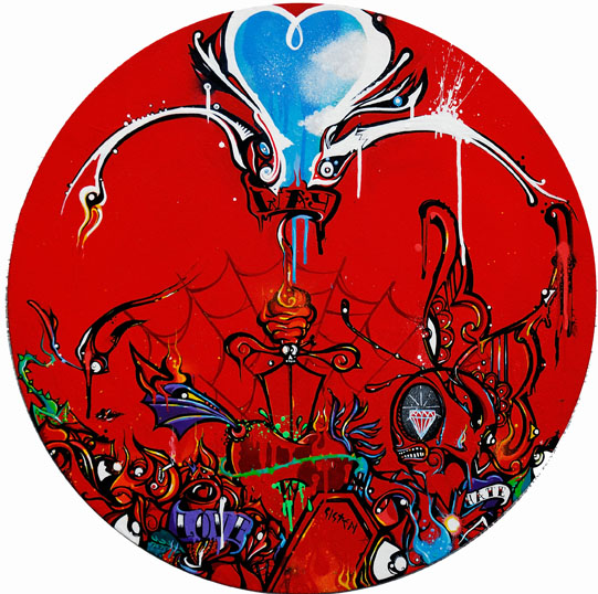 Boleta  &nbsp -  <strong>Red</strong> (<strong style = 'color:#635a27'></strong>)<bR /> Mixed Media on Canvas,   23 inches in diameter