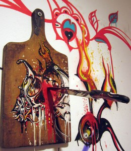 Boleta    -  <strong>Cutting board</strong> (<strong style = 'color:#635a27'></strong>)<bR /> Mixed Media on Wood Cutting Board,   18 1/2 x 9 inches