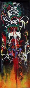 Boleta   -  <strong>Snake Sword</strong> (<strong style = 'color:#635a27'></strong>)<bR /> Mixed Media on Canvas,   23 1/2 x 7 3/4 inches