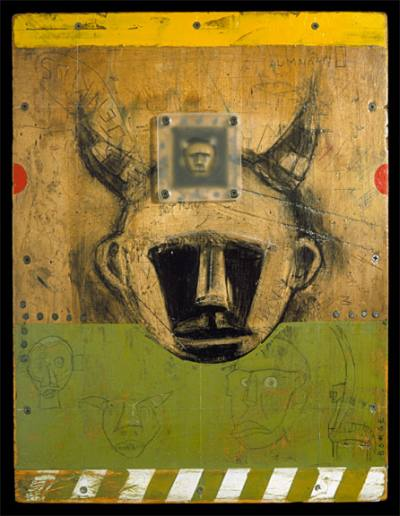 Richard  Borge -  <strong>Green Monkey</strong> (<strong style = 'color:#635a27'></strong>)<bR /> Mixed Media on Wood