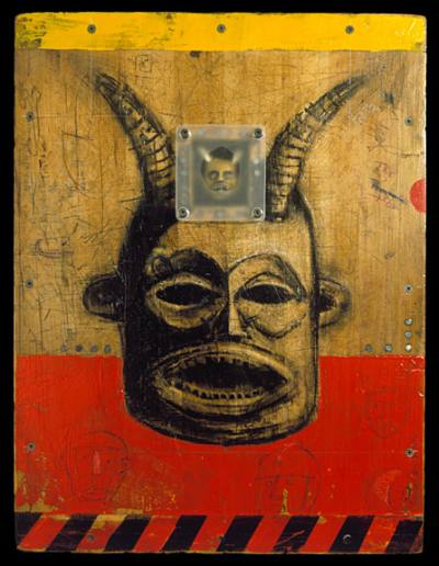 Richard  Borge -  <strong>Red Mamblia</strong> (<strong style = 'color:#635a27'></strong>)<bR /> Mixed Media on Wood