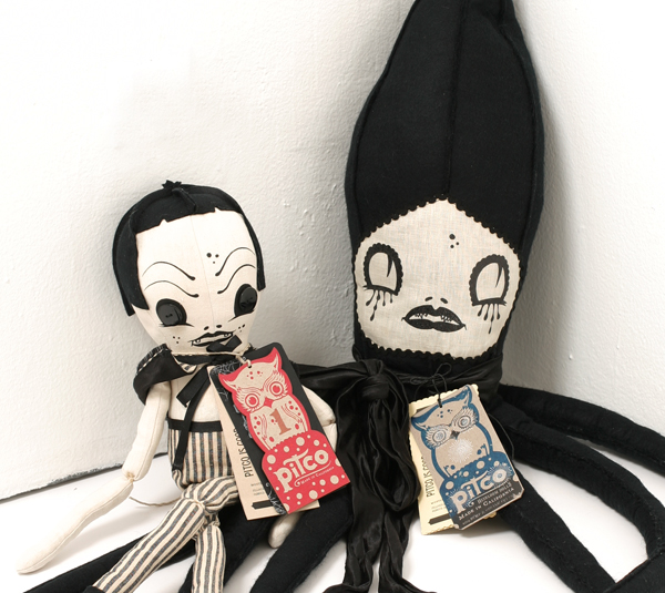 Camille Rose  Garcia -  <strong>Squid and Peppermint Man Dolls</strong> (<strong style = 'color:#635a27'></strong>)<bR />