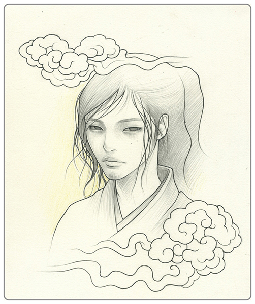 Audrey  Kawasaki -  <strong>Boy 1</strong> (2009<strong style = 'color:#635a27'></strong>)<bR /> graphite on paper,   9 x 7.5 inches  (22.86 x 19.05 cm)