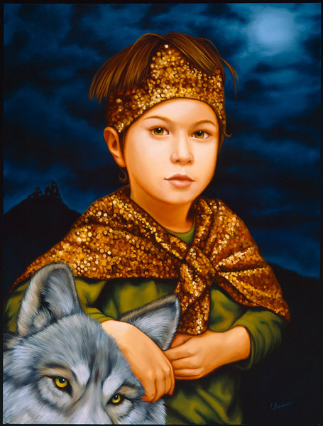 Isabel  Samaras -  <strong>Filius in Fabula (The Boy in the Tale)</strong> (2006<strong style = 'color:#635a27'></strong>)<bR /> Oil on wood,   Image size: 24 x 17 1/4 inches,   Framed size: 32 x 26 inches