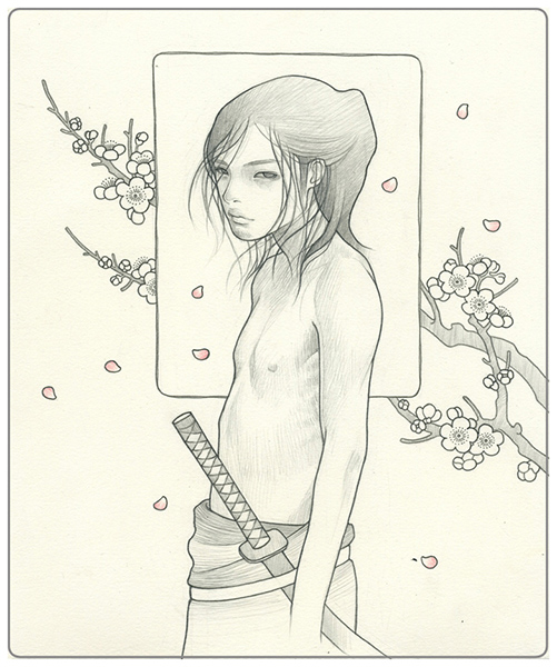 Audrey  Kawasaki -  <strong>Boy 2</strong> (2009<strong style = 'color:#635a27'></strong>)<bR /> graphite on paper,   9 x 7.5 inches  (22.86 x 19.05 cm)