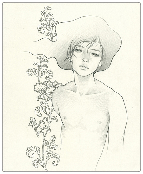 Audrey  Kawasaki -  <strong>Boy 3</strong> (2009<strong style = 'color:#635a27'></strong>)<bR /> graphite on paper,   9 x 7.5 inches  (22.86 x 19.05 cm)