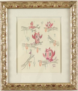 Gary  Baseman -  <strong>Halo Collection</strong> (2005<strong style = 'color:#635a27'></strong>)<bR /> Mixed media on paper,   11 x 9 inches