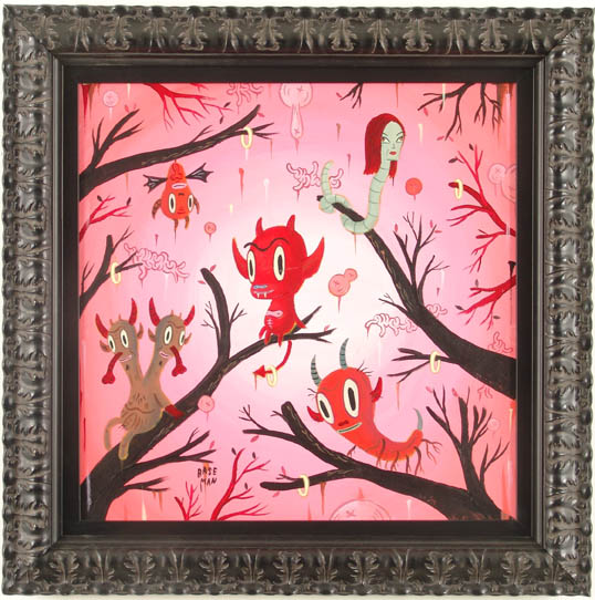 Gary  Baseman -  <strong>Local Branches #1</strong> (2005<strong style = 'color:#635a27'></strong>)<bR /> Acrylic on Wood Panel,   18 x 18 inches