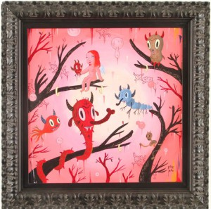 Gary  Baseman -  <strong>Local Branches #2</strong> (2005<strong style = 'color:#635a27'></strong>)<bR /> Acrylic on Wood Panel,   18 x 18 inches
