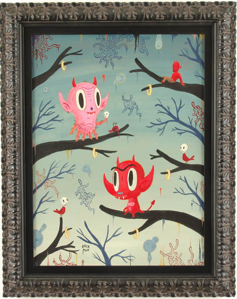 Gary  Baseman -  <strong>Local Branches</strong> (2005<strong style = 'color:#635a27'></strong>)<bR /> Acrylic on Wood Panel,   24 x 18 inches