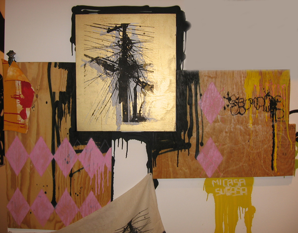 Hamilton  Yokota (Titi Freak) -  <strong>Triptique</strong> (2006<strong style = 'color:#635a27'></strong>)<bR /> Mixed Media on Wood,   37 x 49 inches