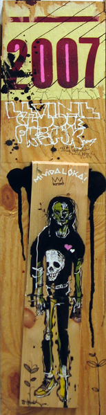 Hamilton  Yokota (Titi Freak) -  <strong>2007</strong> (<strong style = 'color:#635a27'></strong>)<bR /> Mixed Media on Wood,    30 x 7 inches