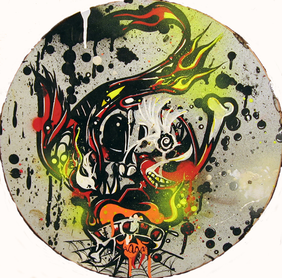 Boleta  &nbsp -  <strong>Vicio</strong> (<strong style = 'color:#635a27'></strong>)<bR /> Mixed Media on Panel,   15 1/2 inches in diameter