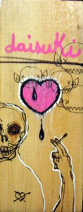 Hamilton  Yokota (Titi Freak) -  <strong>Pink Daisuki</strong> (2006<strong style = 'color:#635a27'></strong>)<bR /> Mixed Media on Found Wood,   9 x 3 inches
