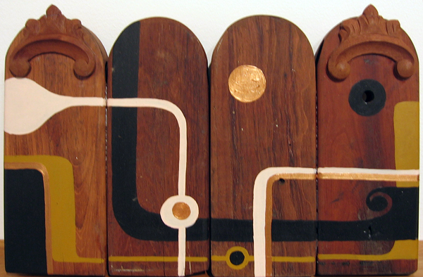 Kboco  &nbsp -  <strong>Capelinhaz</strong> (<strong style = 'color:#635a27'></strong>)<bR /> Mixed Media on Found Wood,   11 1/2 x 18 inches