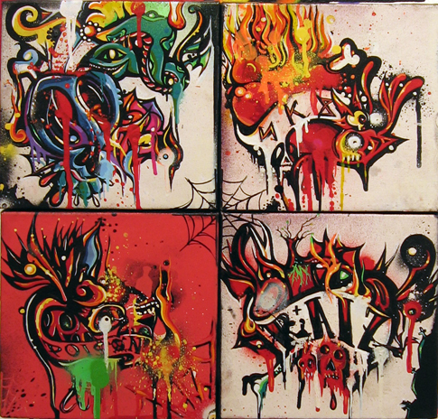 Boleta  &nbsp -  <strong>Poliptiche</strong> (<strong style = 'color:#635a27'></strong>)<bR /> Mixed Media on Canvas ,   4 panels,   15 1/2 x 15 1/2 inches