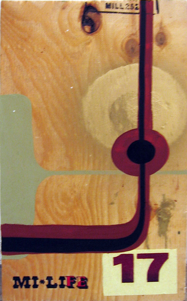 Kboco  &nbsp -  <strong>Mi Life 17</strong> (<strong style = 'color:#635a27'></strong>)<bR /> Mixed Media on Found Wood,   18 1/2 x 10 1/2 inches