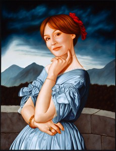Isabel  Samaras -  <strong>Perpetua (The Bride)</strong> (2006<strong style = 'color:#635a27'></strong>)<bR /> Oil on Wood,   Image size: 31 x 23 inches,   Framed size: 39 x 32 inches