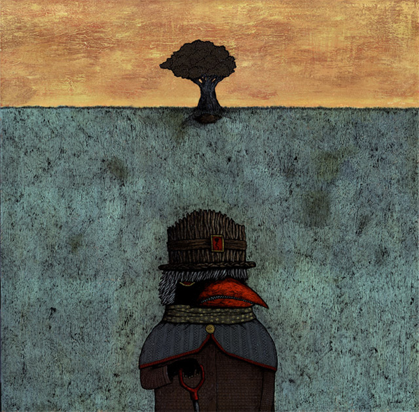 Andy  Kehoe -  <strong>The Burial of Good William</strong> (<strong style = 'color:#635a27'></strong>)<bR /> <!--startfragment -->,   Acrylic on wood ,   24 x 24 inches