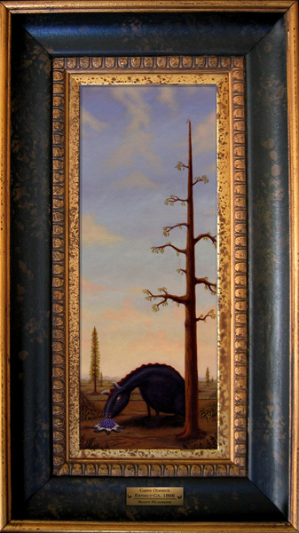 Scott  Musgrove -  <strong>Canis Odorus</strong> (2005<strong style = 'color:#635a27'></strong>)<bR /> Oil on Board,   Image size: 14 x 5 1/2 inches,   Framed: 20 1/2 x 11 1/2 inches
