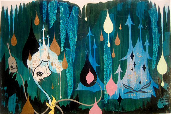 Camille Rose  Garcia -  <strong>Blue Castle Invasion</strong> (2006<strong style = 'color:#635a27'></strong>)<bR /> Acrylic, glitter, and gold mica on wood,   16 x 24 inches