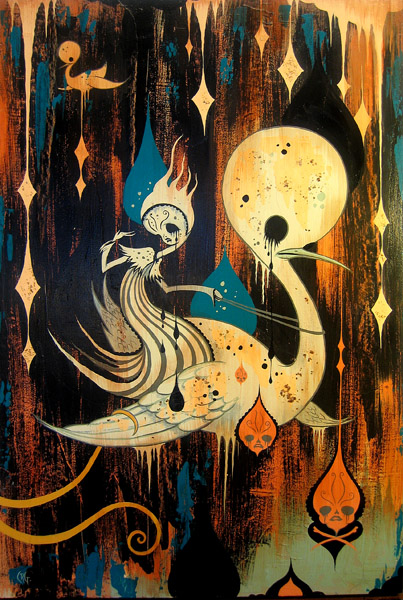 Camille Rose  Garcia -  <strong>Cavern Swan Escape</strong> (2006<strong style = 'color:#635a27'></strong>)<bR /> Acrylic, glitter, and gold mica on wood,   36 x 24 inches