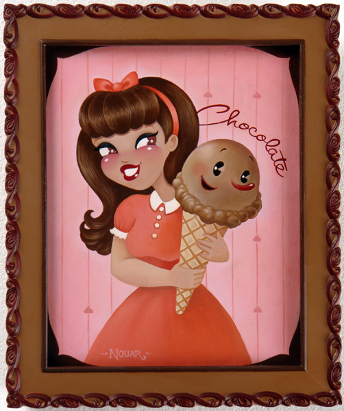 Nouar   &nbsp -  <strong>Chocolate</strong> (2006<strong style = 'color:#635a27'></strong>)<bR /> oil on wood,   image size: 9 3/4 x 7 1/2 inches,   framed size: 12 1/4 x 10 1/4 inches