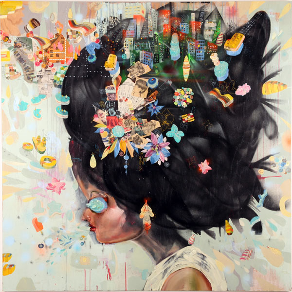 David  Choe -  <strong>City Girl</strong> (<strong style = 'color:#635a27'></strong>)<bR /> Mixed media on wood,   48 x 48 inches
