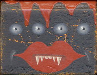 "Colin  Johnson -  <strong>Blockhead Monster # 2</strong> (<strong style = 'color:#635a27'></strong>)<bR /> Acrylic on Wood   2.25"" x 1.75"" 1.75"""