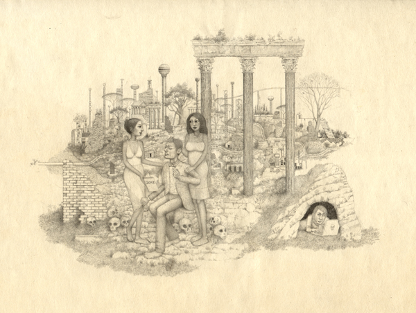 Randall  Sellers -  <strong>Clairvoyants</strong> (2006<strong style = 'color:#635a27'></strong>)<bR /> Graphite on Paper,   Image size: 4 1/2 x 6 1/2 inches,   Paper size: 7 1/4 x 10 inches,   Framed size: 8 3/4 x 12 3/4 inches
