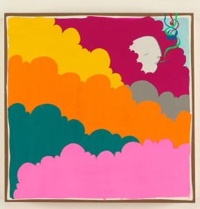Ben  Woodward -  <strong>Clouds</strong> (<strong style = 'color:#635a27'></strong>)<bR /> Gouache on Wood -Contact Gallery for Availability-