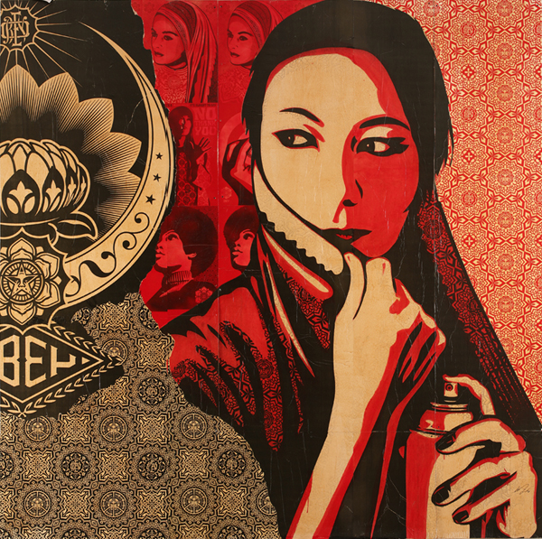 "Shepard  Fairey -  <strong>Commanda - Mural</strong> (2009<strong style = 'color:#635a27'></strong>)<bR /> <font size=""2"">Silk Screen Collage on Luan</font>,   <font size=""2"">10 x 10 feet</font>"