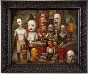 Chris  Mars -  <strong>Consecration of the Tin Seer</strong> (2004<strong style = 'color:#635a27'></strong>)<bR /> Oil on Panel,   16 x 20 inches