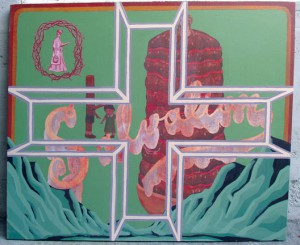 Louie  Cordero -  <strong>Stakeholders (Salvation)</strong> (2004<strong style = 'color:#635a27'></strong>)<bR /> Acrylic on Canvas.
