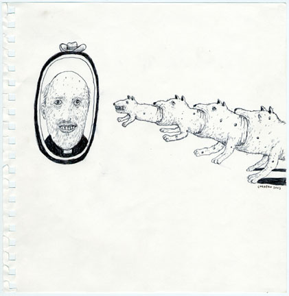 Louie  Cordero -  <strong>Drawing #2</strong> (2004<strong style = 'color:#635a27'></strong>)<bR /> Ink on Paper.