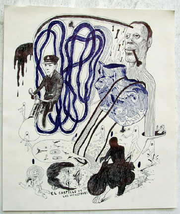 Louie  Cordero -  <strong>Drawing #8</strong> (2004<strong style = 'color:#635a27'></strong>)<bR /> Ink on Paper.