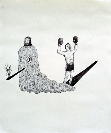 Louie  Cordero -  <strong>Drawing #9</strong> (2004<strong style = 'color:#635a27'></strong>)<bR /> Ink on Paper.