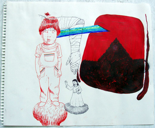 Louie  Cordero -  <strong>Drawing #13</strong> (2004<strong style = 'color:#635a27'></strong>)<bR /> Ink and Acrylic on Paper.