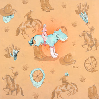 David  Choe -  <strong>Cowboy Bee Bop</strong> (<strong style = 'color:#635a27'></strong>)<bR /> Mixed media on paper,   Image size: 12 x 12 inches,   Framed size: 22 x 22 inches