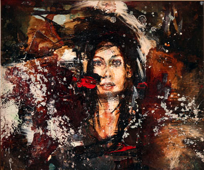 David  Choe -  <strong>Crash</strong> (<strong style = 'color:#635a27'></strong>)<bR /> Mixed media on panel,   Image size: 7 1/2 x 9 inches,   Framed size: 14 x 15 3/4 inches