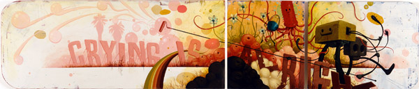 Jeff  Soto -  <strong>Crying is Alright</strong> (2005<strong style = 'color:#635a27'></strong>)<bR /> Acrylic on wood  3 panels  21 x 111 inches