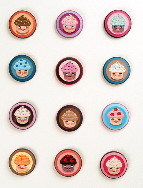 Nouar   &nbsp -  <strong>Cupcake Cuties</strong> (2006<strong style = 'color:#635a27'></strong>)<bR /> oil on wood,   4 inches each