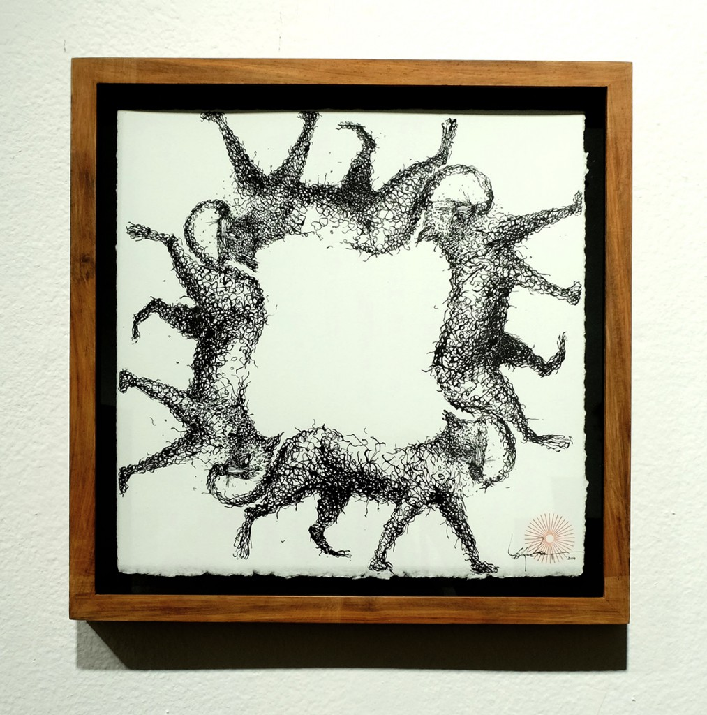 DALeast  &nbsp -  <strong>Untitled 19</strong> (2014<strong style = 'color:#635a27'></strong>)<bR /> ink on paper,   11 x 11 inches  (27.94 x 27.94 cm)  13.25 x 13.25 in, framed