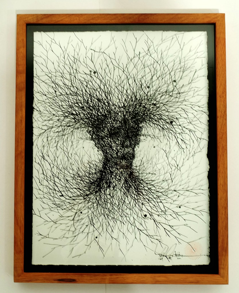 DALeast  &nbsp -  <strong>Untitled 6</strong> (2014<strong style = 'color:#635a27'></strong>)<bR /> ink on paper,   14.75 x 11 inches  (37.47 x 27.97 cm)  17.25 x 13.5 in, framed