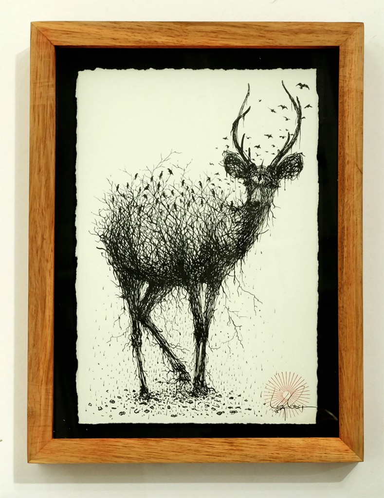 DALeast  &nbsp -  <strong>Untitled 12</strong> (2014<strong style = 'color:#635a27'></strong>)<bR /> ink on paper,   6 x 9 inches  (15.24 x 22.86 cm)  8.5 x 11.25 in, framed